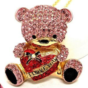 Jewelry - I LOVE YOU Red Heart Pink Crystal Bear Necklace